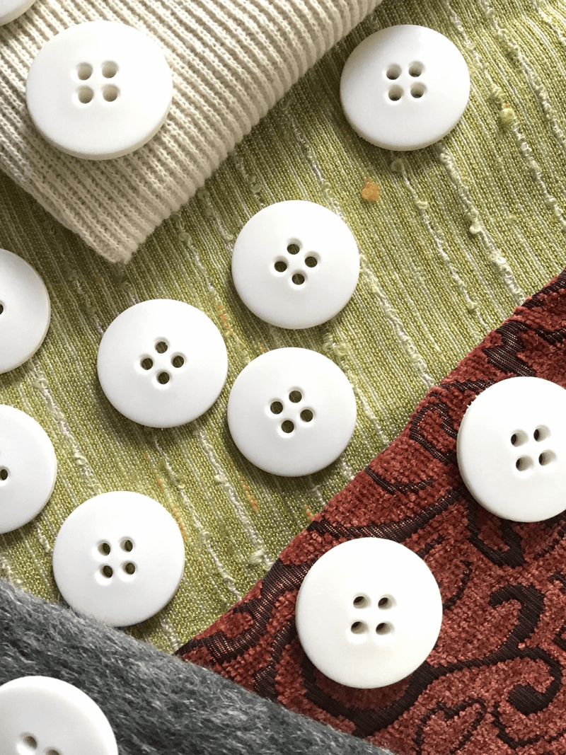 "Large 4 Hole 1-3/16"" (30mm) 48L Vintage White Italian Coat Buttons #548"