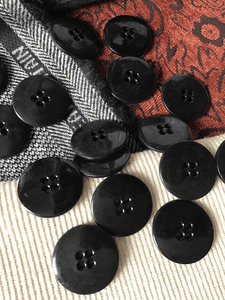 "Large 4 Hole Black Button 1-3/8"" (34mm) 54L Large Buttons #670"