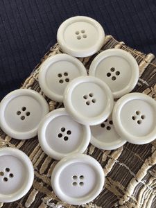 "Large White 4 Hole 1-1/2"" (38mm) 60L Italian White Coat Buttons #1027"