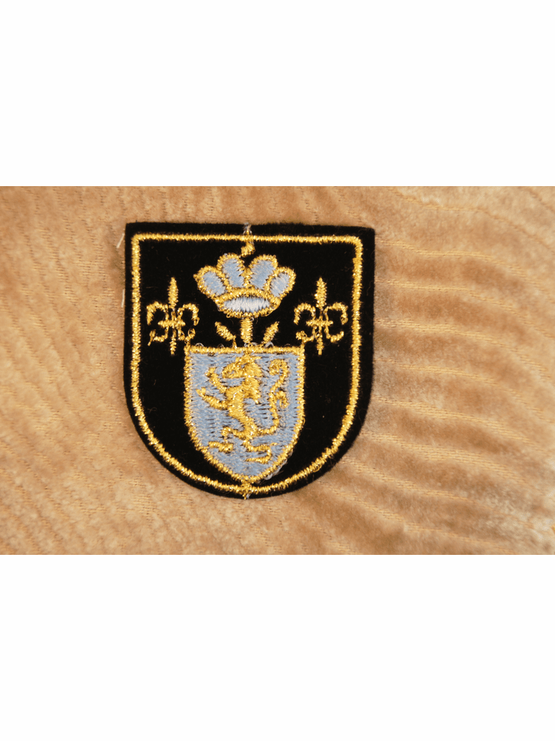 Light Blue and Black with Gold Metallic Embroidery Shield Patch Iron On Applique # appliques-1068