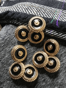"Metallic Gold & Black Fashion Buttons 3/4"" (19mm) 30L Sewing Shank Buttons #661"