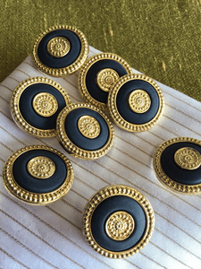 "Metallic Gold Embossed Rim Navy Vintage Shank 1"" (25mm) 40L Buttons #900"