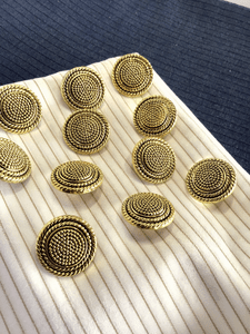 "Metallic Gold Embossed Rope Swirl Vintage Shank 15/16"" (23mm) 36L Blazer Buttons #916"