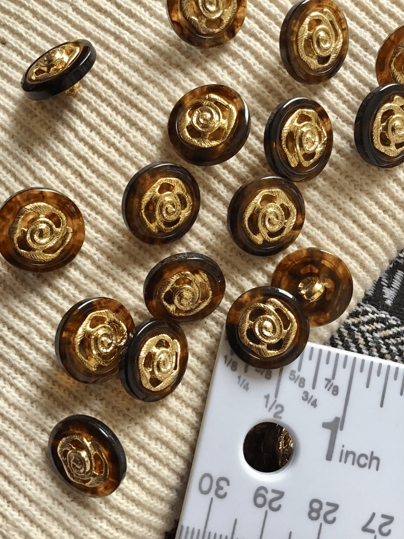 "Metallic Gold Rose Amber Brown Designer Button 5/8"" (15mm) 24L Fashion Shank Buttons #697"