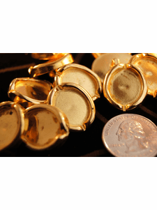 """Metallic Gold Vintage Shank Buttons ÷ 1"""" inch x 3/4"""" inch (12 pcs)"""