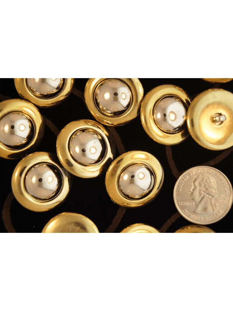"""Metallic Gold Vintage Shank Silver Dome Buttons 1"""" inch (8 pcs)"""