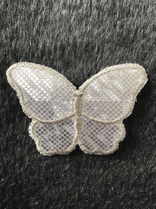 Metallic Silver Iron-on Butterfly Vintage Patch #5004