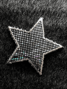 Metallic Silver Star Vintage Iron-on Applique Patch #5002