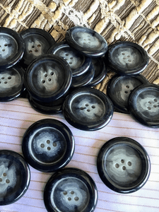 """Midnight Cloudy Blue Large 4 Hole 1-3/16"""" (30mm) 48L Vintage Italian Large Buttons #1039"""