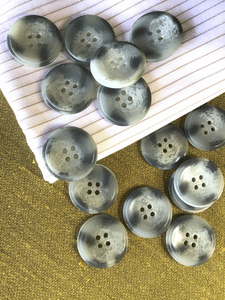 "Mink Grey Italian 1"" (25mm) 40L 4 Hole Vintage Buttons #888"