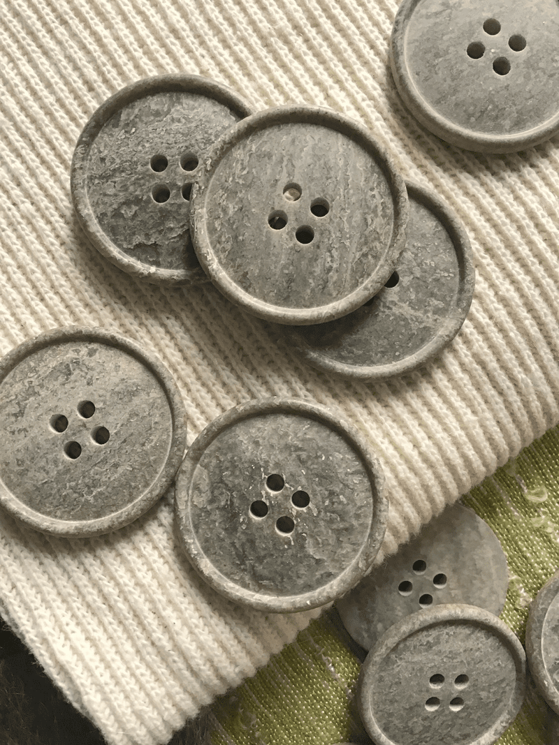 "Natural Grey Stone Italian 4 Hole 1-1/4"" (31mm) 50L Vintage Buttons #559"