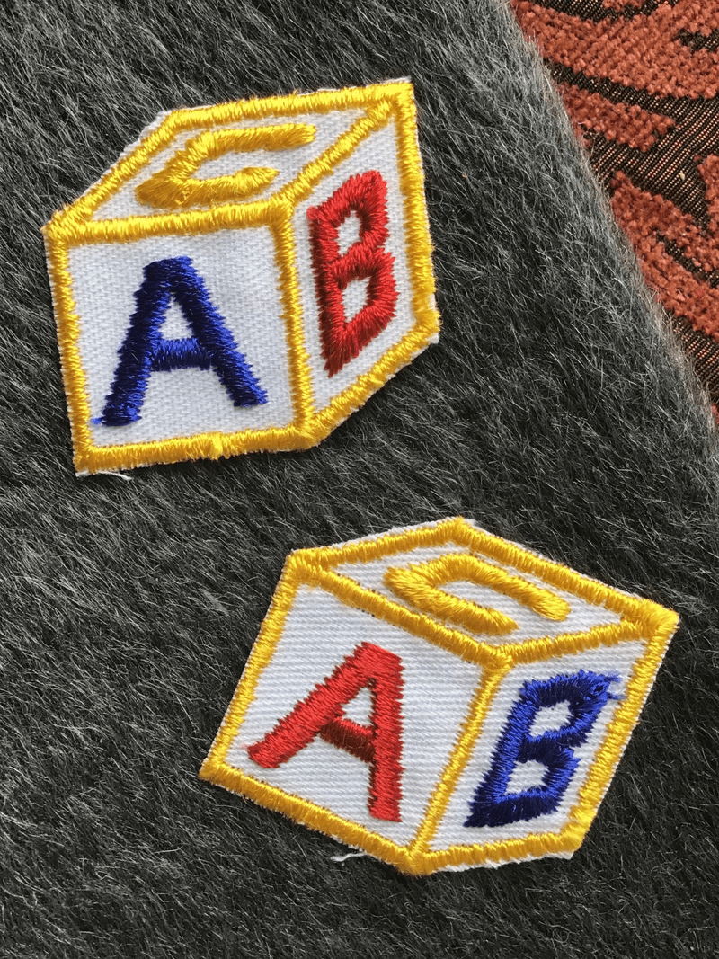 Navy Red Blue Gold White ABC Toy Block Iron-on Vintage Patches #5092