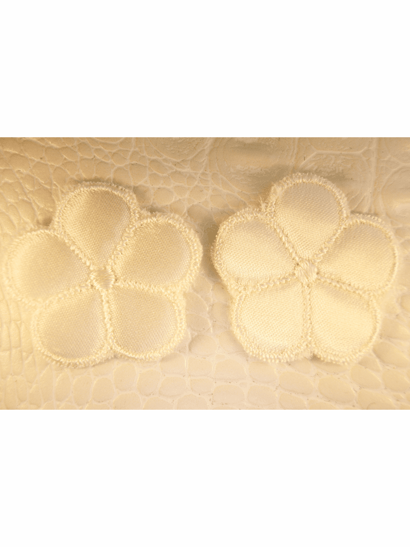 Off-White Satin Faced 5 Petals Flower Vintage Applique #appliques-59