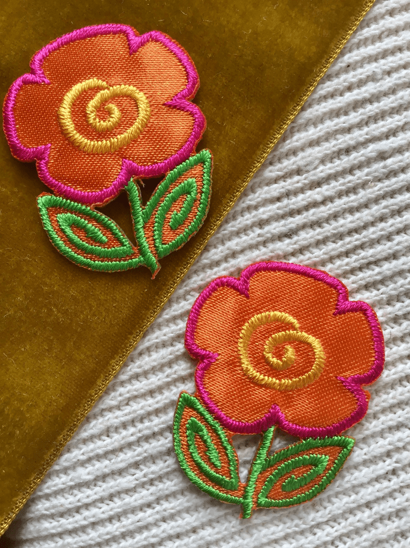 Orange Pink Yellow Vintage Decorative Flower Iron-on Embroidery Floral Applique Patches #5096