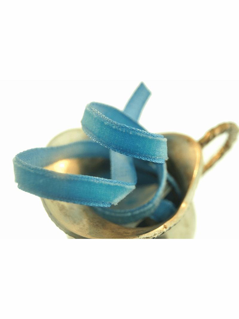 Peacock Blue French Velvet Ribbon Trim 7mm