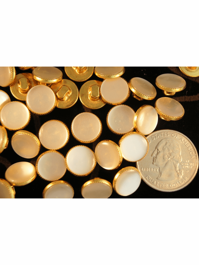 """Pearl like Vintage Gold Shank Buttons 1/2"""" inch (12 pcs)"""