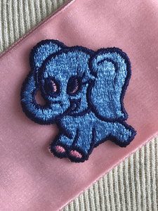 Pink Blue Elephant Embroidery Vintage Decorative Patch #5059