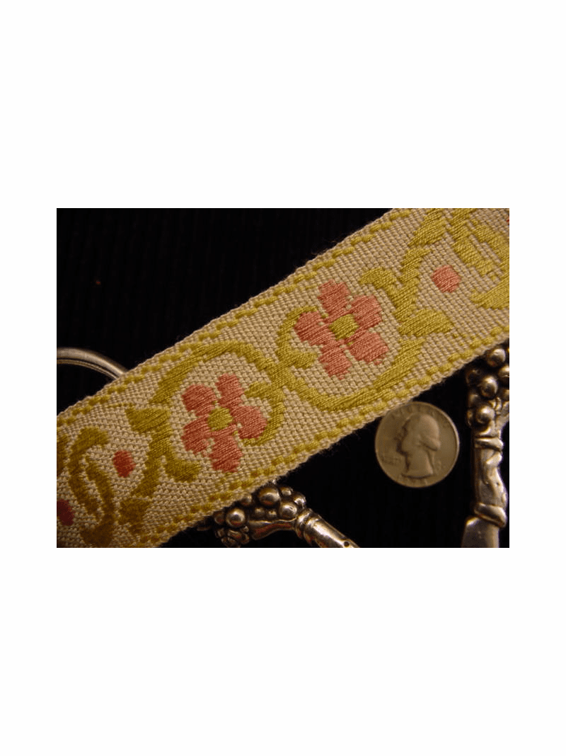Pink Flower Jacquard Italian Woven Trim Made in Italy Vintage Decorative Trim
