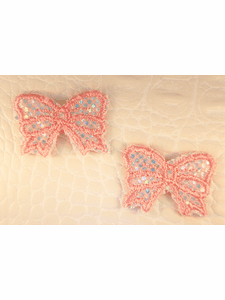 Pink Iridescent Bow Iron-On Applique #appliques-34