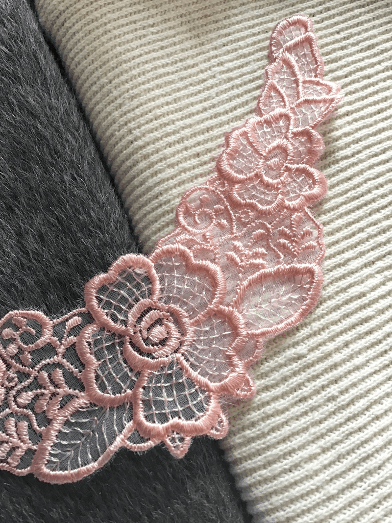 Pink Lace Floral Neckline Collar Venise Vintage Decorative Sew-on Embroidery Applique Patches #5102
