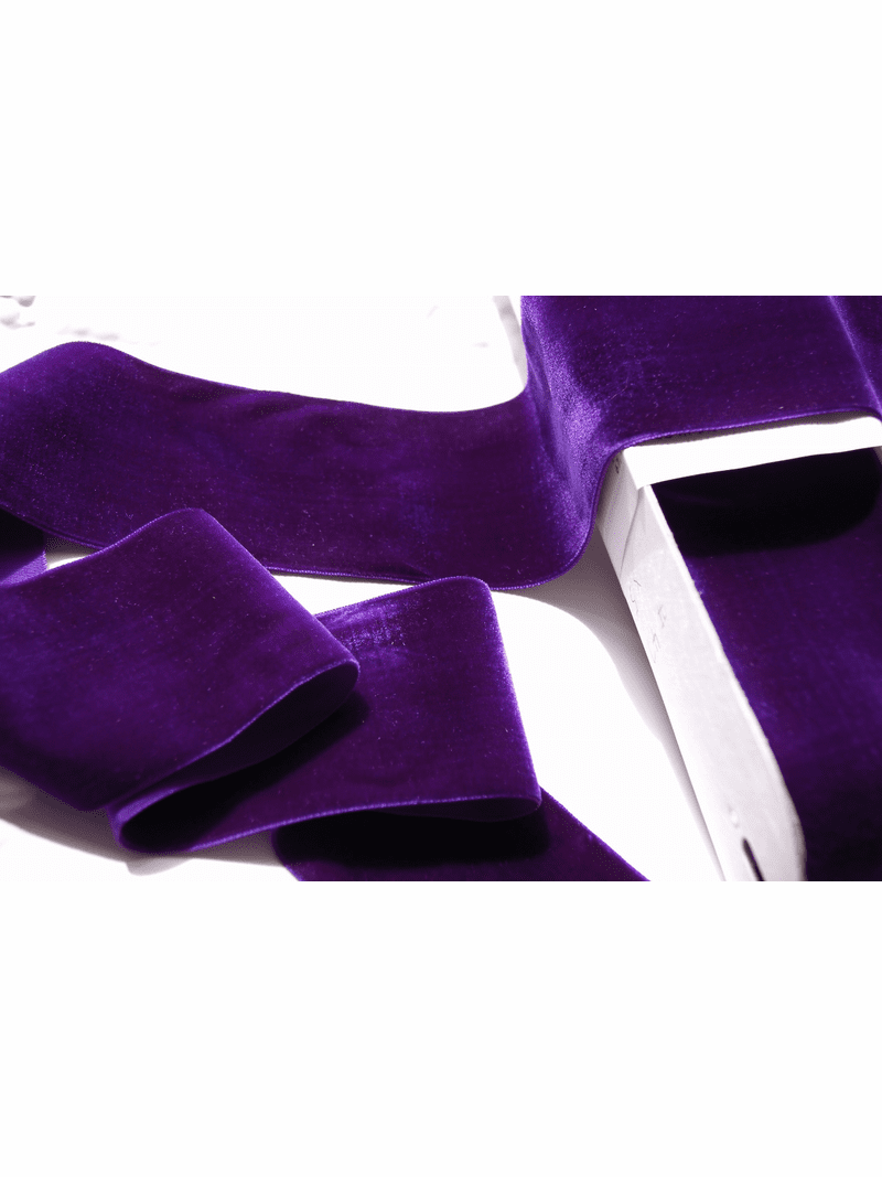 Purple French Wide Velvet Ribbon 72mm