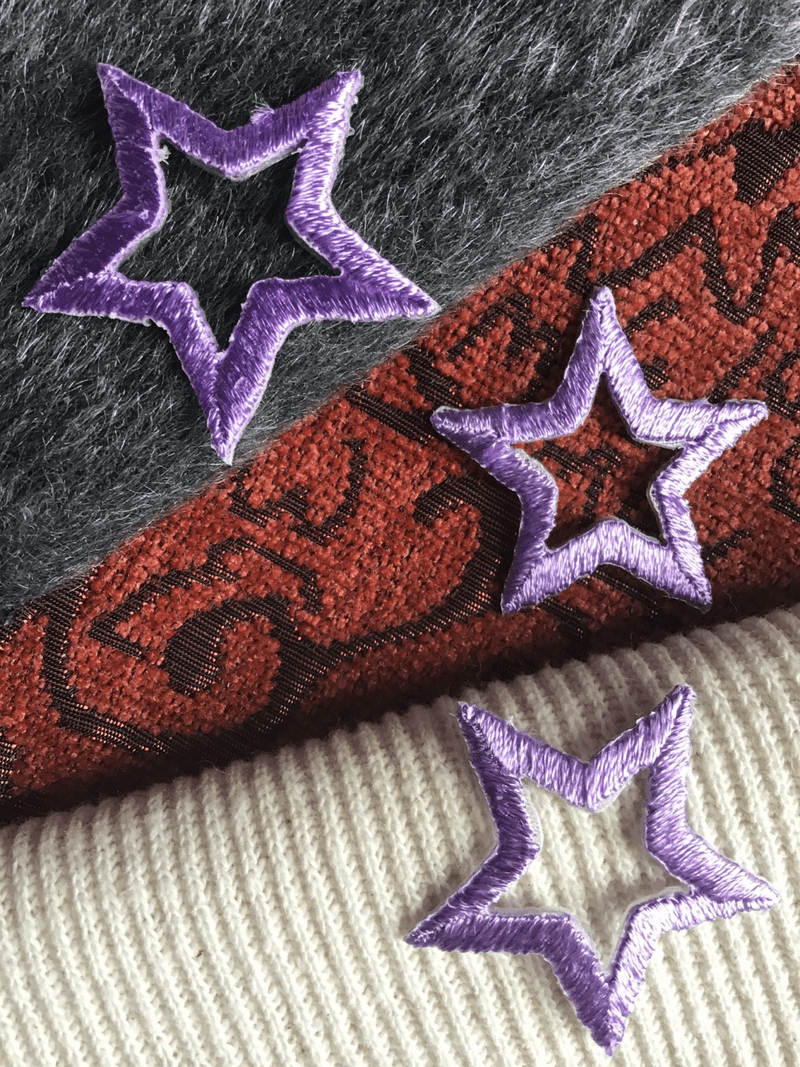 Purple Vintage Star Decorative Embroidered Applique Iron-on Patches #5084