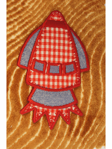 Red and White Plaid Denim Rocket Iron On Applique # appliques-1080