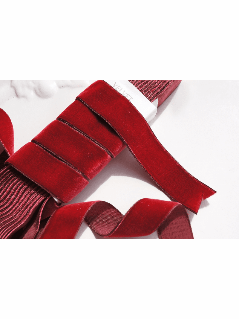 Ruby Red French Ribbon Velvet Trim 24mm