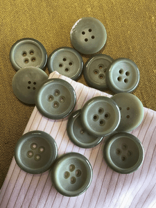 "Sage Green 4 Hole Button 1-3/16"" (30mm) 48L Vintage Italian Buttons #752"