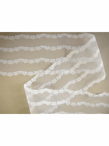 "SAMPLE SWATCH - 3 1/2"" Pure White Embroidery Floral Lace on Net LT-311"