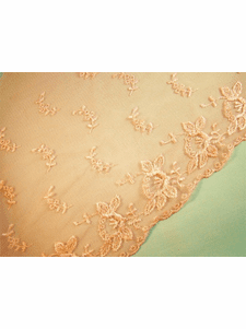 "SAMPLE SWATCH - 9 1/2"" Peach Scalloped Embroidery Lace on Net LT-179"