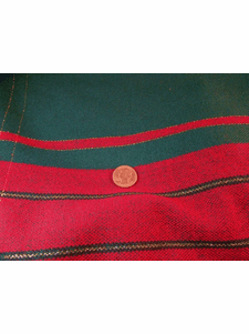 SAMPLE SWATCH - Red, Green, Metallic Gold Novelty Fabric # NV-741