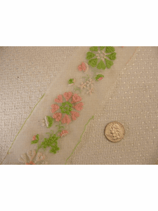 SAMPLE SWATCH -White Sheer Embroidery Lace Trim #-LT-385