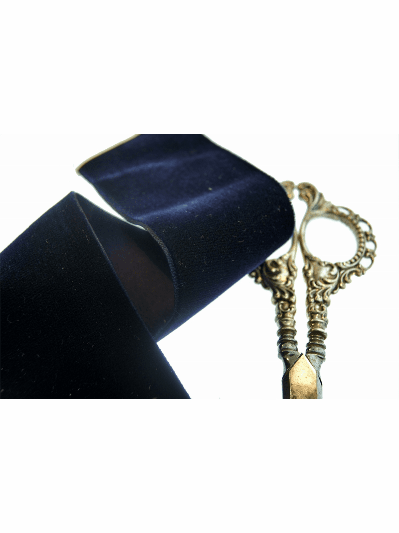 Satin Back Navy French Velvet Ribbon 50mm
