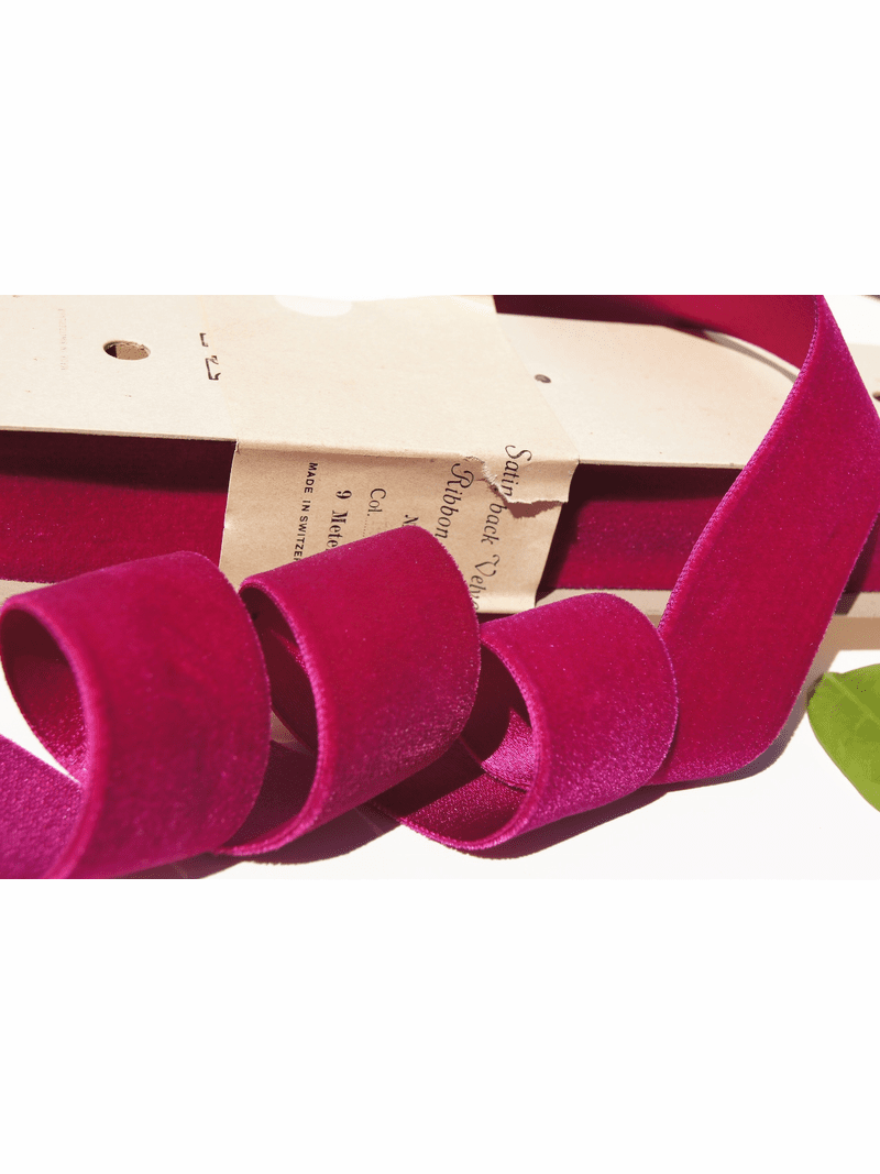 Satn Back Fuchsia Wine Swiss Velvet Ribbon 40mm