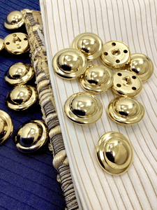 "Shiny Gold Dome Metal Buttons 15/16"" (23mm) 36L Shank Button #1055"