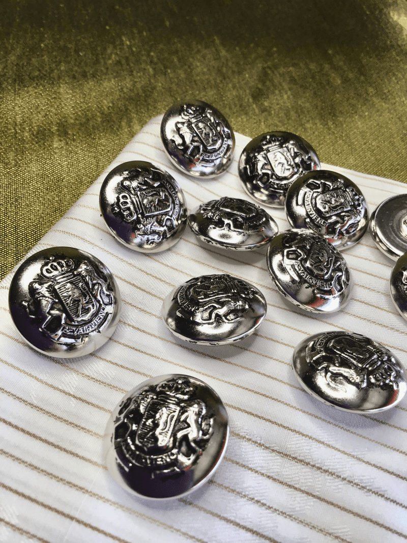 "Silver Lion Crest Button 1"" (25mm) 40L Vintage Metal Blazer Buttons #829"