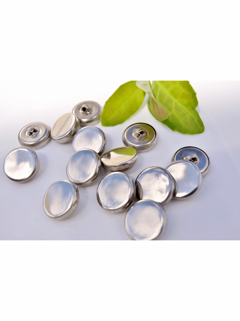 """Silver Metal Shank Vintage Buttons 3/4"""" inch (12 pcs)"""
