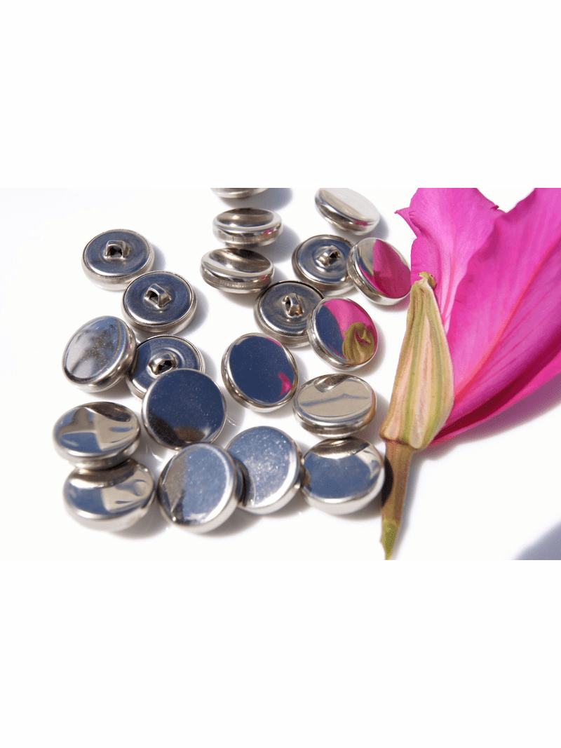 """Silver Metal Vintage Shank Buttons 3/4"""" inch (12 pcs)"""