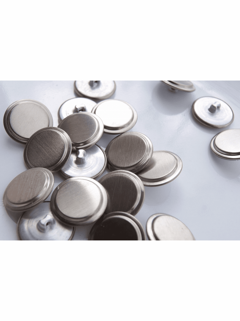 """Silver Metal Vintage Shank Buttons 7/8"""" inch (10 pcs)"""