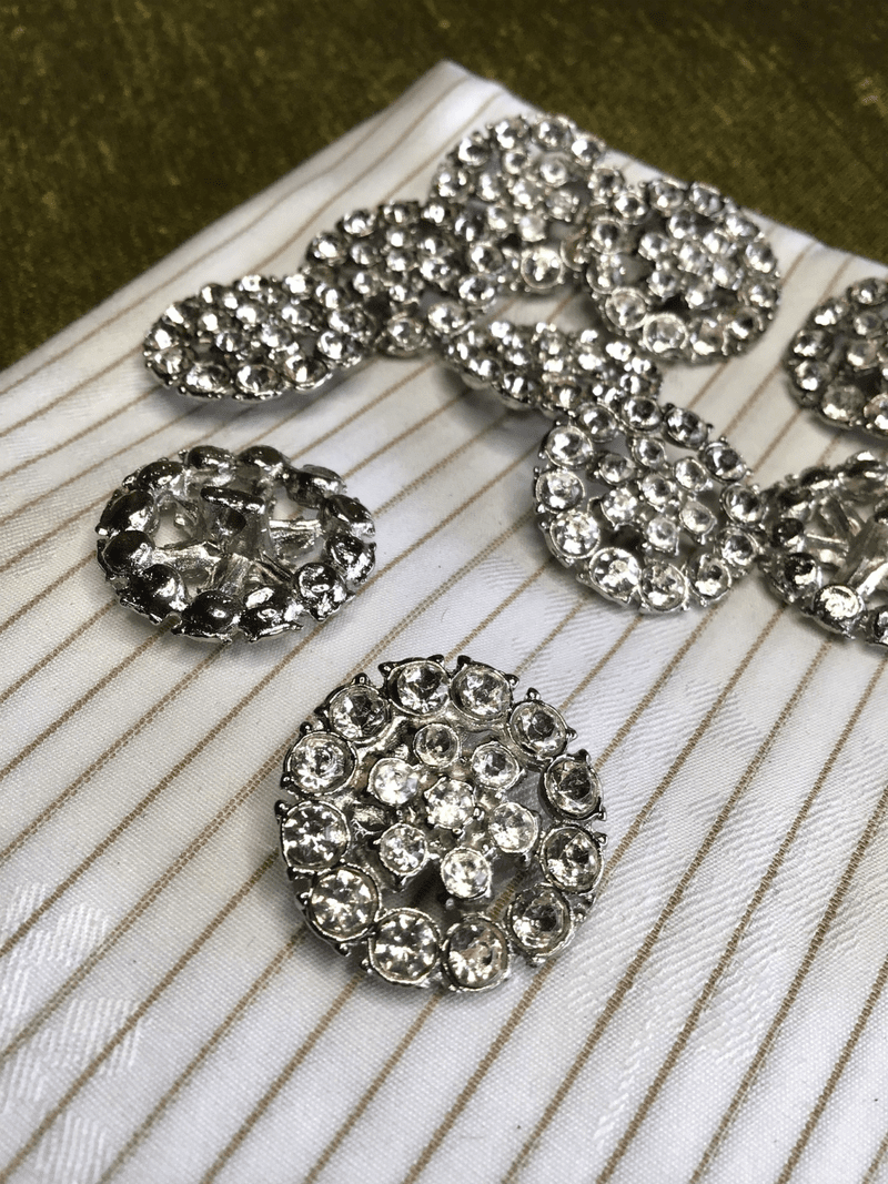 """Silver Rhinestone Button 1"""" / 25mm / 40L Metal Shank Vintage Buttons #823"""