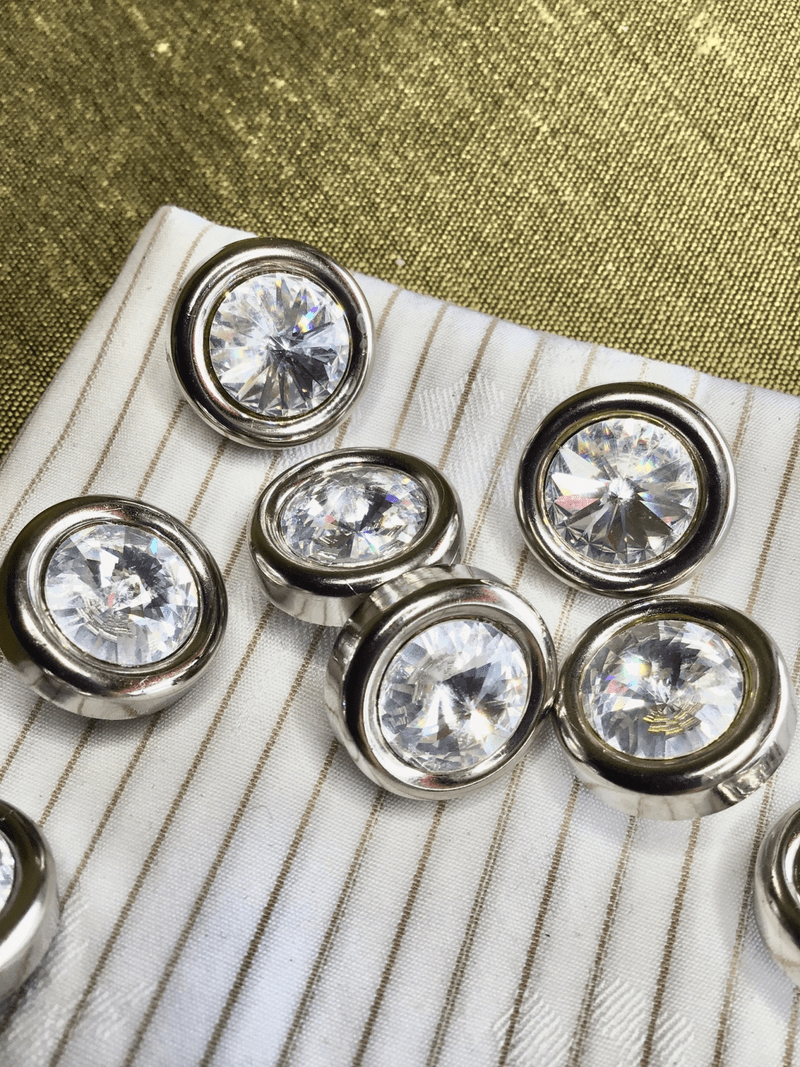 "Silver Rim Rhinestone Buttons 5/8"" (15mm) 24L Vintage Metal Buttons #821"