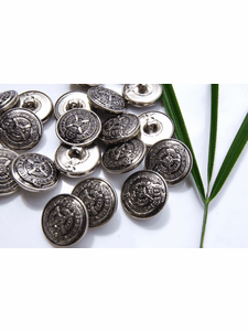 """Silver Shank Vintage Embossed Metal Buttons 3/4"""" inch (10 pcs)"""
