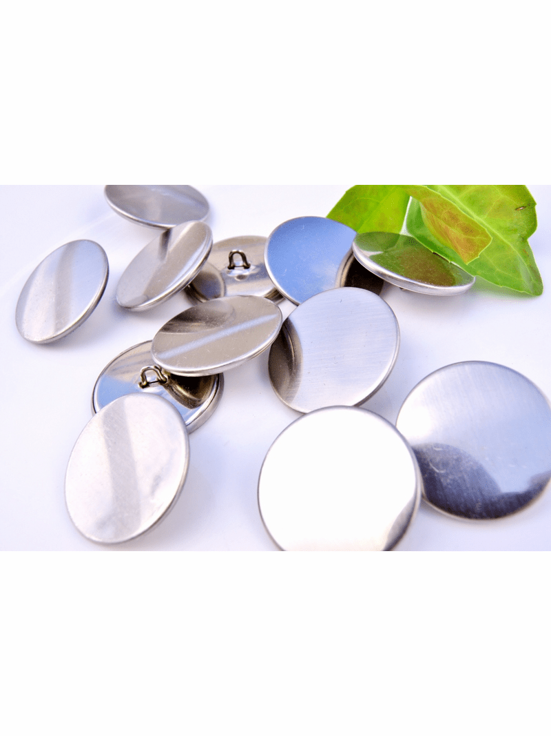 """Silver Vintage Shank Metal Buttons 1 1/8"""" inch (8 pcs)"""