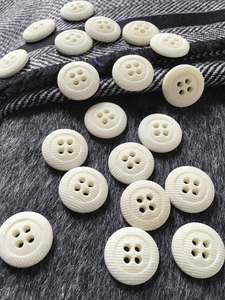 "Small 4 Hole  11/16"" (18mm) 28L Textured Vintage White Italian Buttons #610"