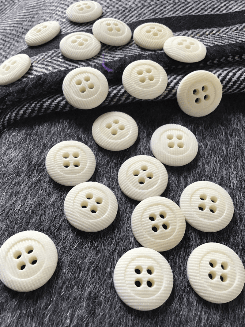 """Small 4 Hole  11/16"""" (18mm) 28L Textured Vintage White Italian Buttons #610"""