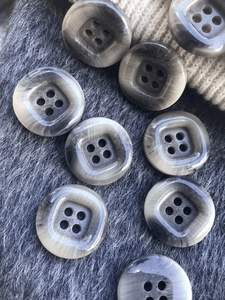 "Square Centered Multi Gray Textured Italian 4 Hole Buttons 13/16"" (20mm) 32L Vintage Button #1091"