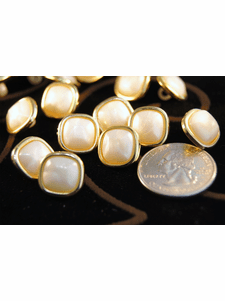 """Square Pearl Look Vintage Metallic Gold Buttons 3/16"""" inch (15 pcs)"""