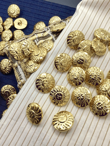 "Sun Embossed Gold Metallic Shank Buttons 11/16"" (18mm) 28L Sun Buttons #1056"