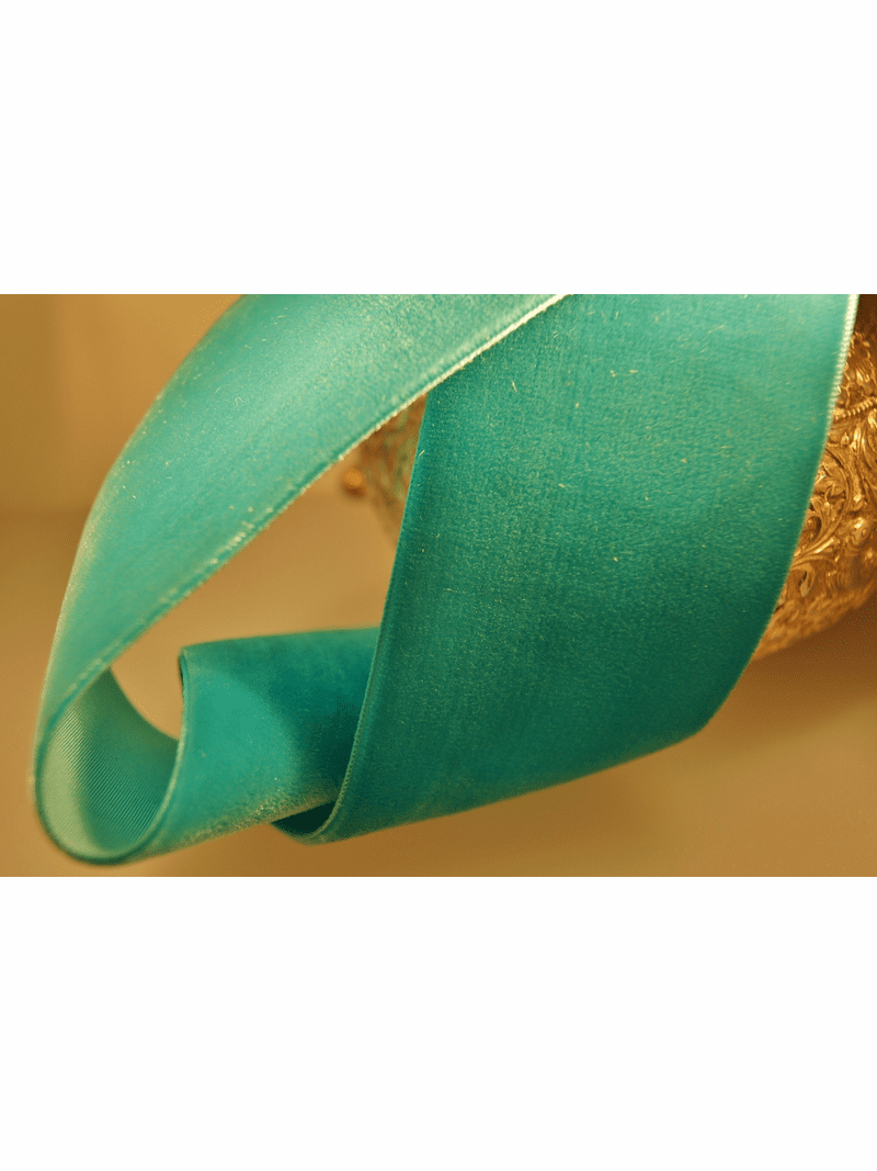 Swiss Velvet Ribbon Aquamarine Green 50mm